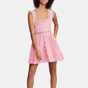 Pink Free People Verona Mini Dress. NWT size Med